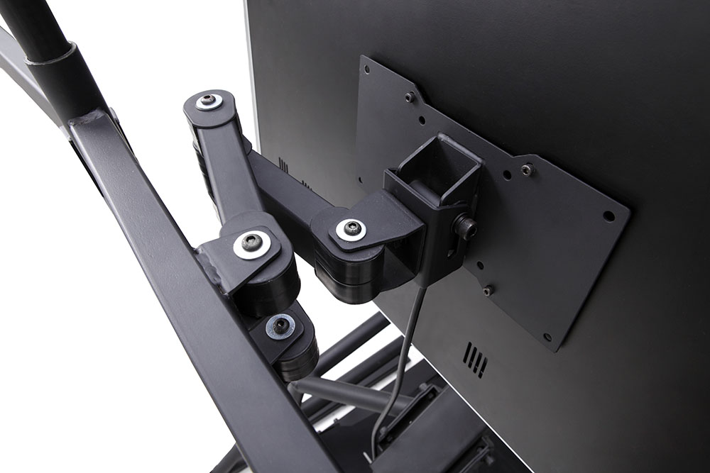 r3volution ergonomic workstation fully articulating main monitor mount