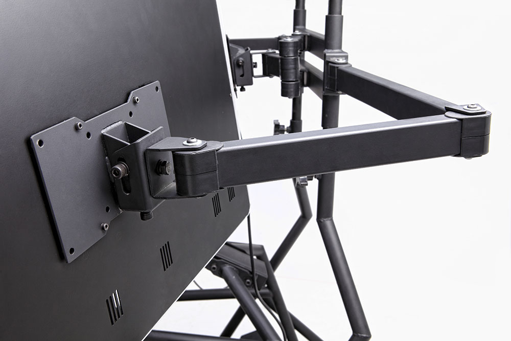r3volution ergonomic workstation triple mount arms